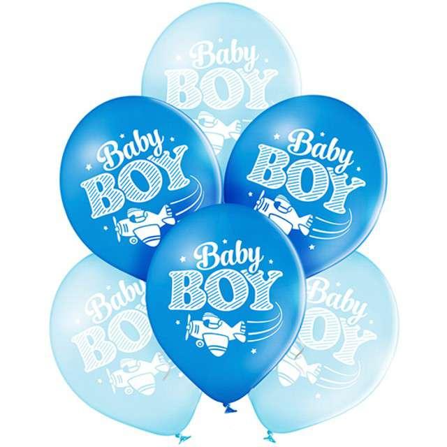 """Balony """"Baby Shower - Boy"""", pastel niebieskie, BELBAL, 10"""", 6 szt"""