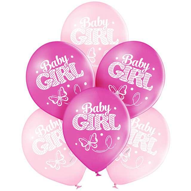 "Balony ""Baby Shower - Girl"", pastel różowe, BELBAL, 10"", 6 szt"