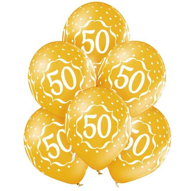 """Balony """"50 Urodziny """", metaliczne złote, BELBAL, 12"""", 6 szt"""