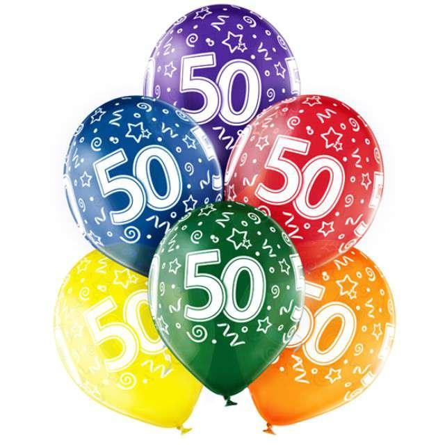 "Balony ""50 Urodziny"", mix, BELBAL, 12"", 6 szt"