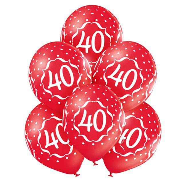 """Balony """"40 Urodziny """", metaliczne czerwone, BELBAL, 12"""", 6 szt"""