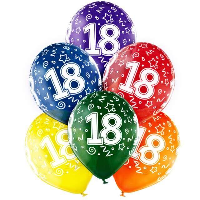 "Balony ""18 Urodziny"", mix, BELBAL, 12"", 6 szt"