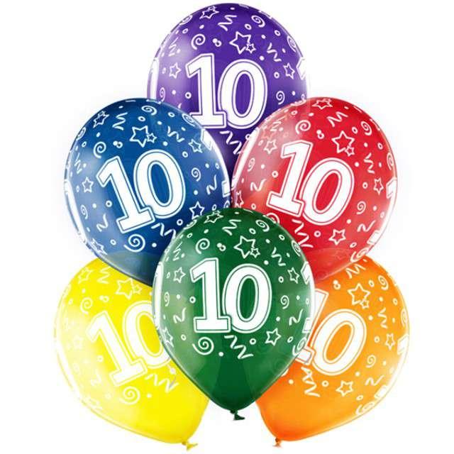 "Balony ""10 Urodziny"", mix, BELBAL, 12"", 6 szt"