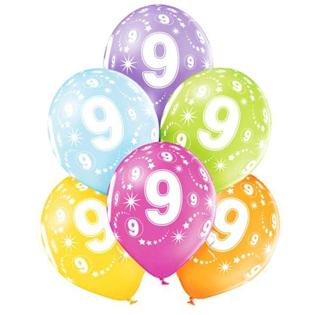 "Balony ""9 Urodziny"", pastel mix, BELBAL, 12"", 6 szt"
