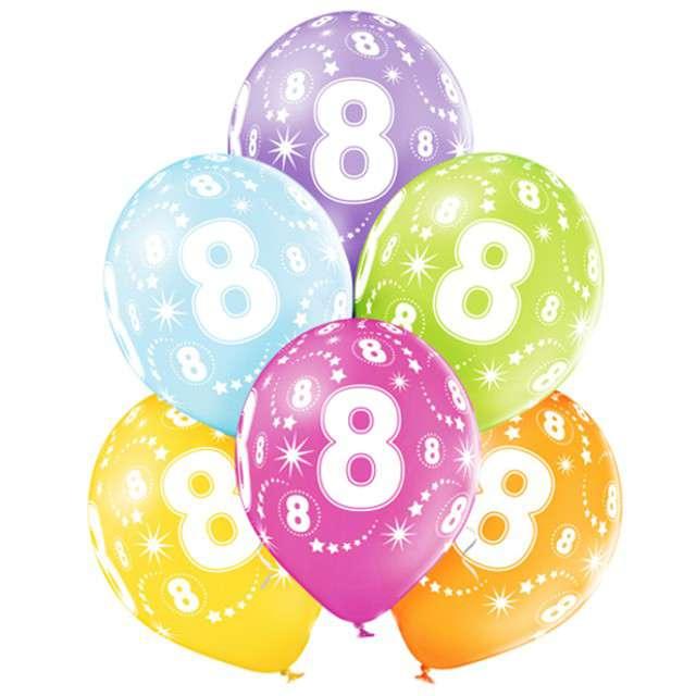 "Balony ""8 Urodziny"", pastel mix, BELBAL, 12"", 6 szt"