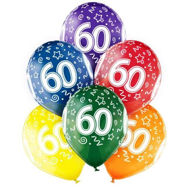 "Balony ""60 Urodziny"", mix, BELBAL, 12"", 6 szt"