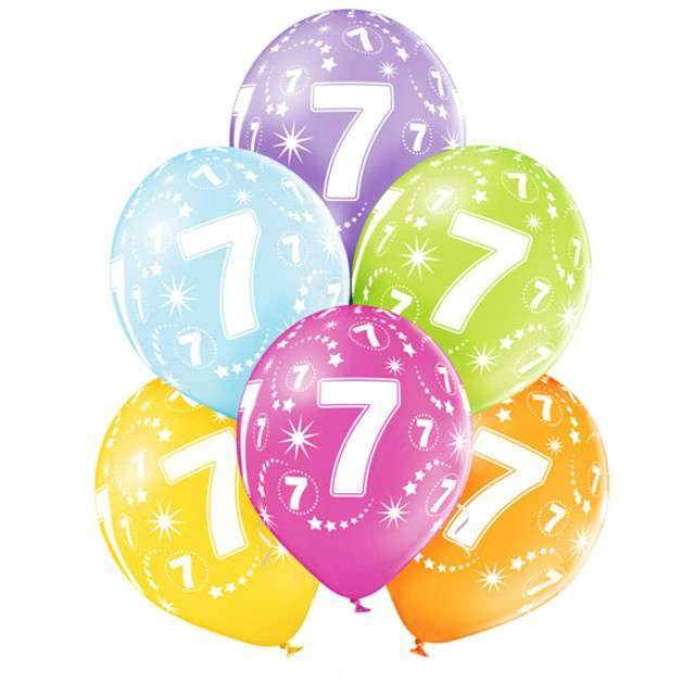 "Balony ""7 Urodziny"", pastel mix, BELBAL, 12"", 6 szt"