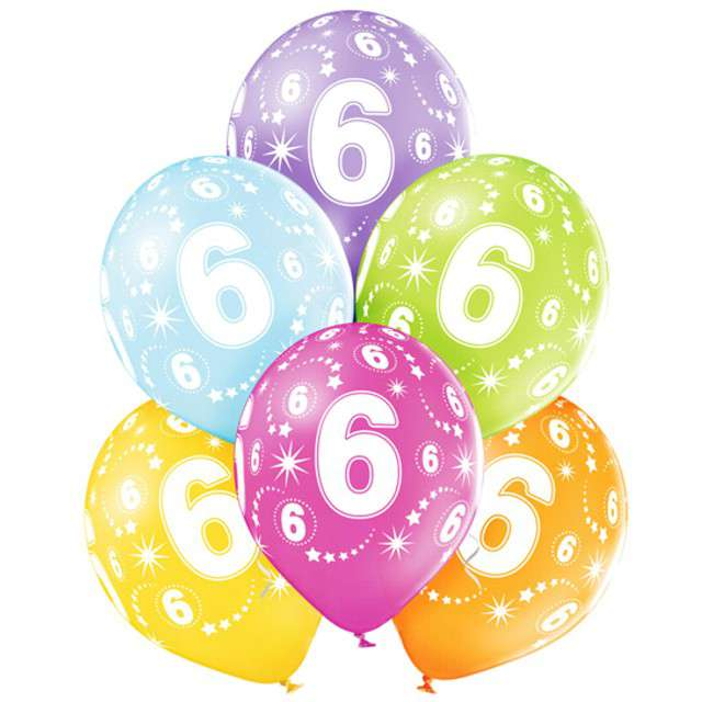 "Balony ""6 Urodziny"", pastel mix, BELBAL, 12"", 6 szt"