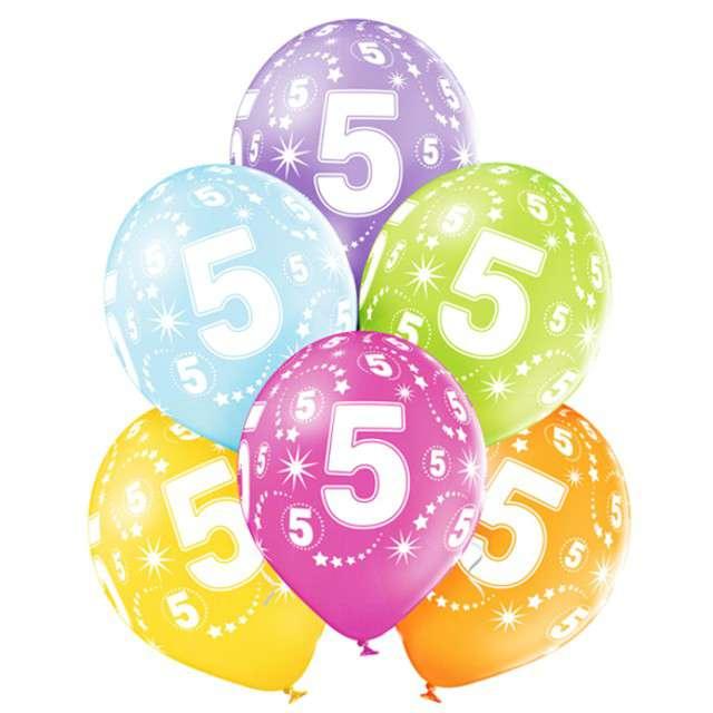 "Balony ""5 Urodziny"", pastel mix, BELBAL, 12"", 6 szt"