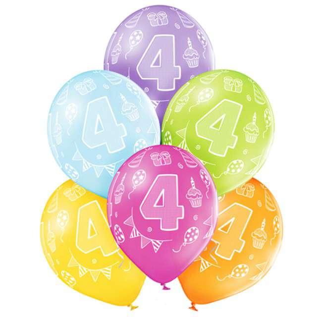 "Balony ""4 Urodziny"", pastel mix, BELBAL, 12"", 6 szt"