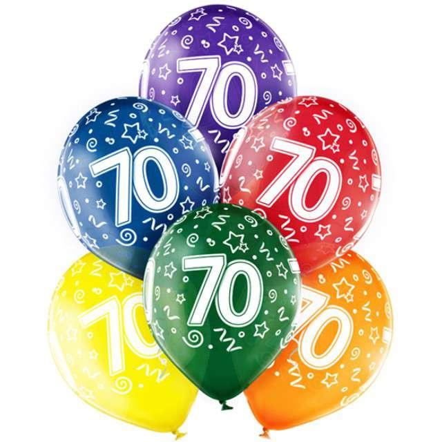 "Balony ""70 Urodziny"",mix, BELBAL, 12"", 6 szt"