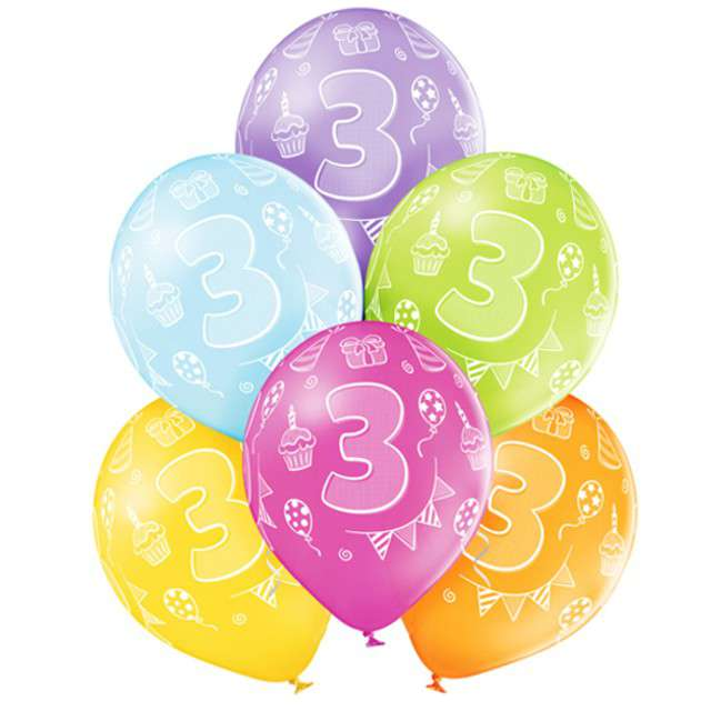 "Balony ""3 Urodziny"", pastel mix, BELBAL, 12"", 6 szt"