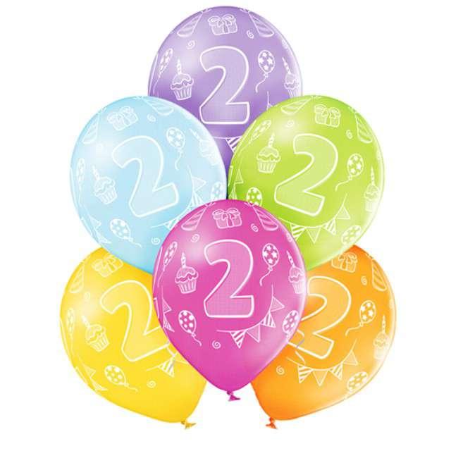 "Balony ""2 Urodziny"", pastel mix, BELBAL, 12"", 6 szt"