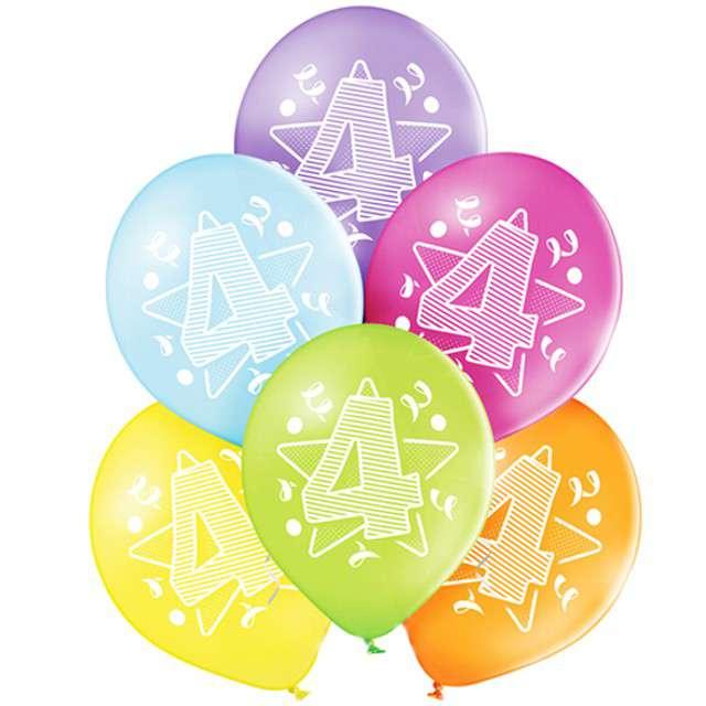 "Balony ""4 Urodziny"", pastel mix, BELBAL, 10"", 6 szt"