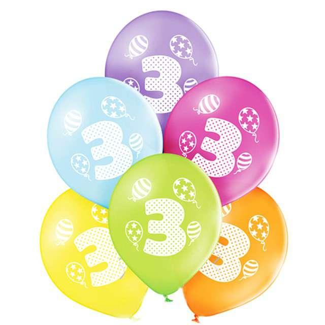 "Balony ""3 Urodziny"", pastel mix, BELBAL, 10"", 6 szt"