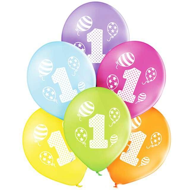 "Balony ""1 Urodziny"", pastel mix, BELBAL, 10"", 6 szt"