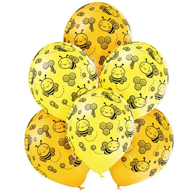 """Balony """"Pszczoły"""", pastel żółty, BELBAL, 12"""", 6 szt"""