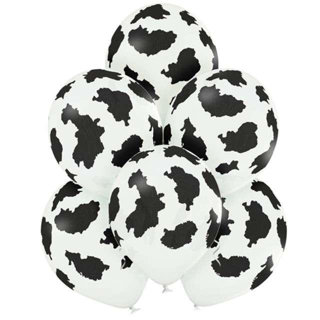 """Balony """"Krowa"""", pastel białe, BELBAL, 12"""", 6 szt"""