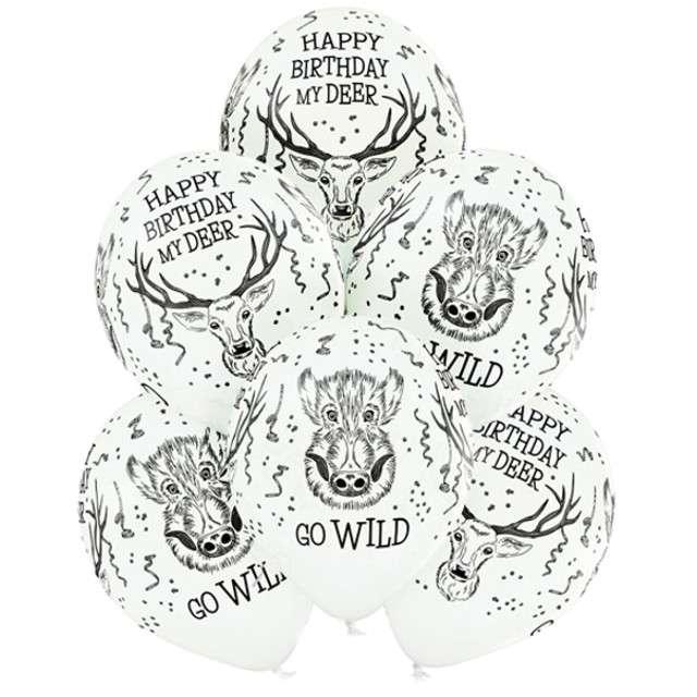 """Balony """"Dzikie Urodziny"""", pastel białe, BELBAL, 12"""", 6 szt"""