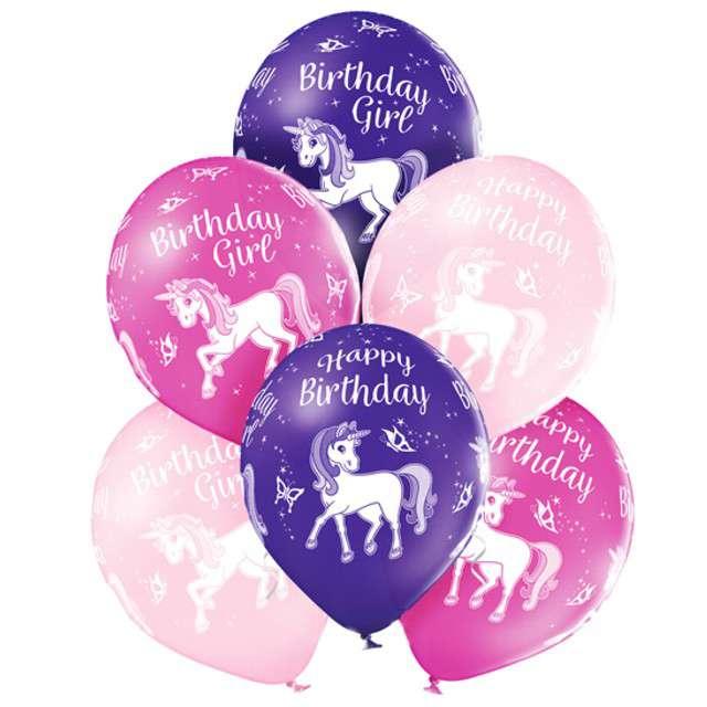 "Balony ""Jednorożec - Birthday"", pastel mix, BELBAL, 12"", 6 szt"