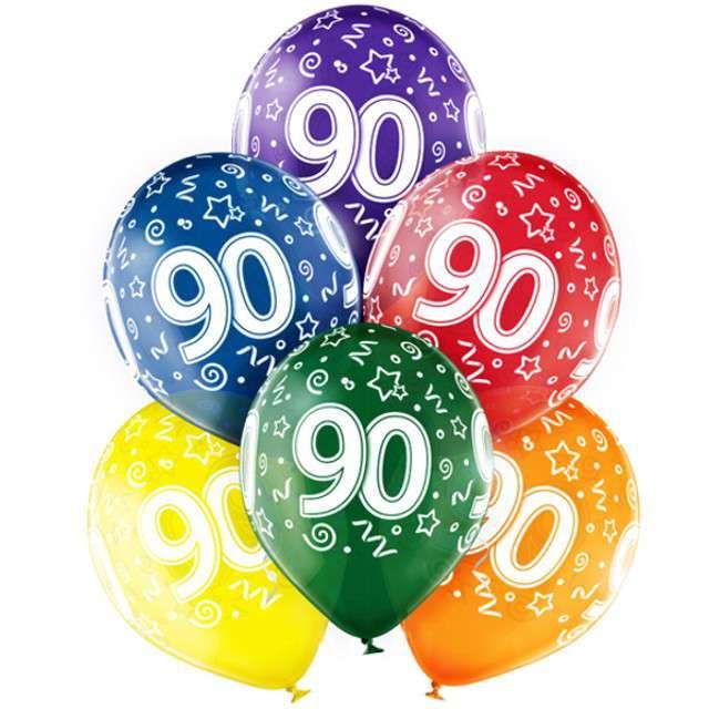 "Balony ""90 Urodziny"",mix, BELBAL, 12"", 6 szt"