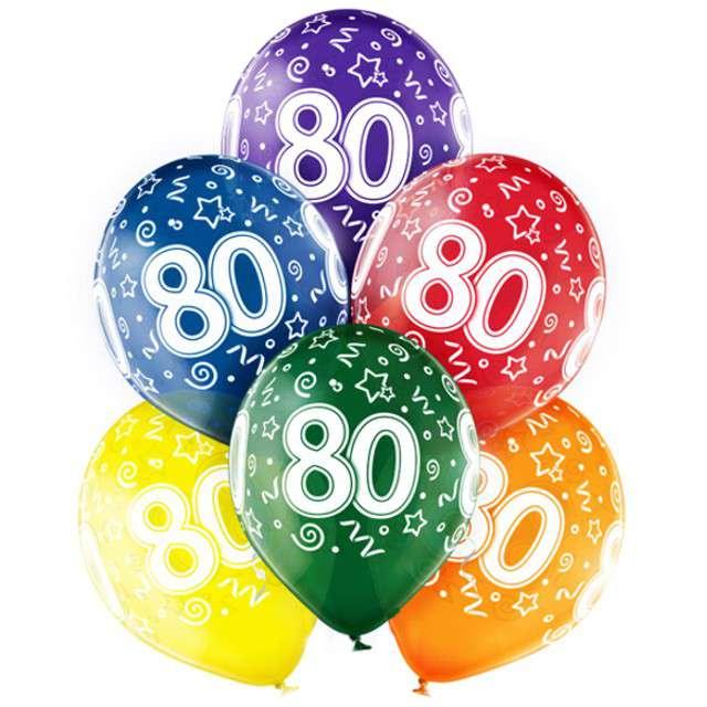 "Balony ""80 Urodziny"",mix, BELBAL, 12"", 6 szt"