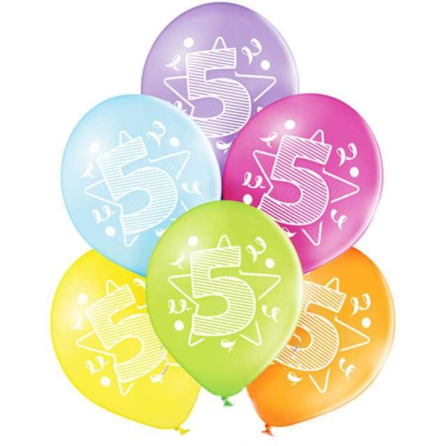 "Balony ""5 Urodziny"", pastel mix, BELBAL, 10"", 6 szt"