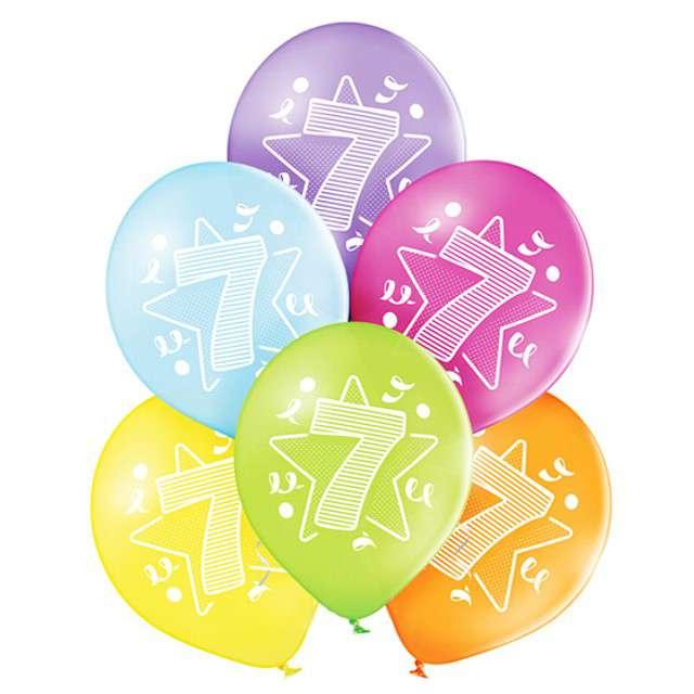 "Balony ""7 Urodziny"", pastel mix, BELBAL, 10"", 6 szt"