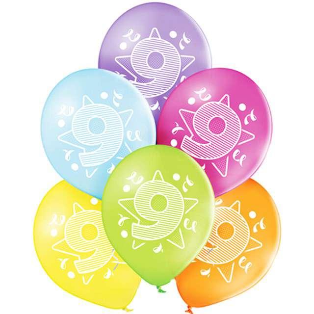 "Balony ""9 Urodziny"", pastel mix, BELBAL, 10"", 6 szt"