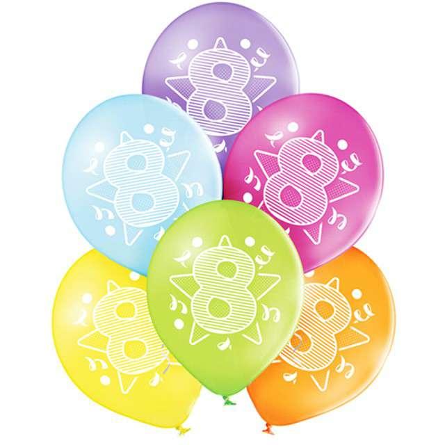 "Balony ""8 Urodziny"", pastel mix, BELBAL, 10"", 6 szt"
