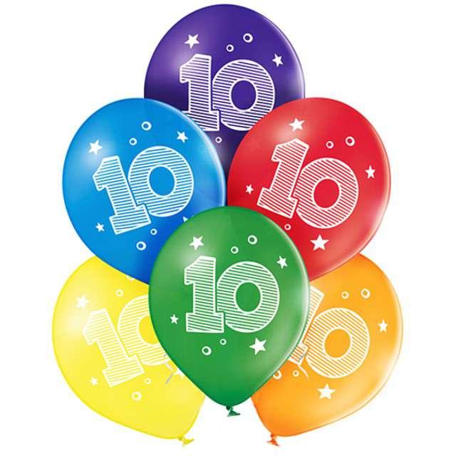 "Balony ""10 Urodziny"", pastel mix, BELBAL, 10"", 6 szt"