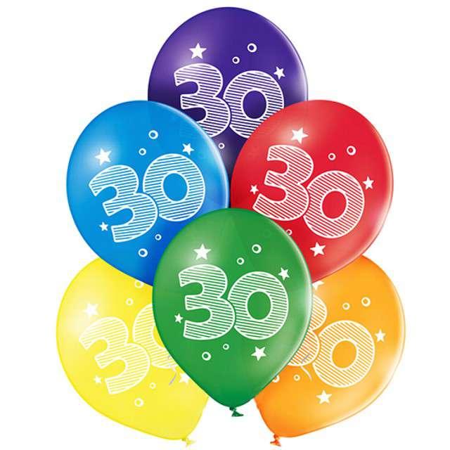 "Balony ""30 Urodziny"", pastel mix, BELBAL, 10"", 6 szt"