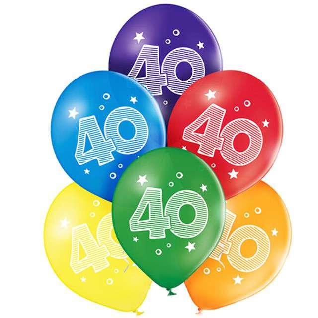 "Balony ""40 Urodziny"", pastel mix, BELBAL, 10"", 6 szt"