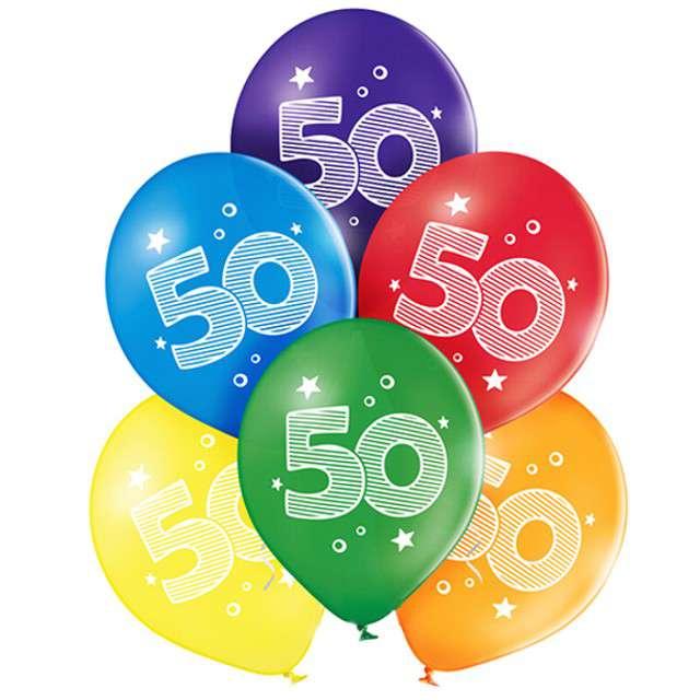 "Balony ""50 Urodziny"", pastel mix, BELBAL, 10"", 6 szt"