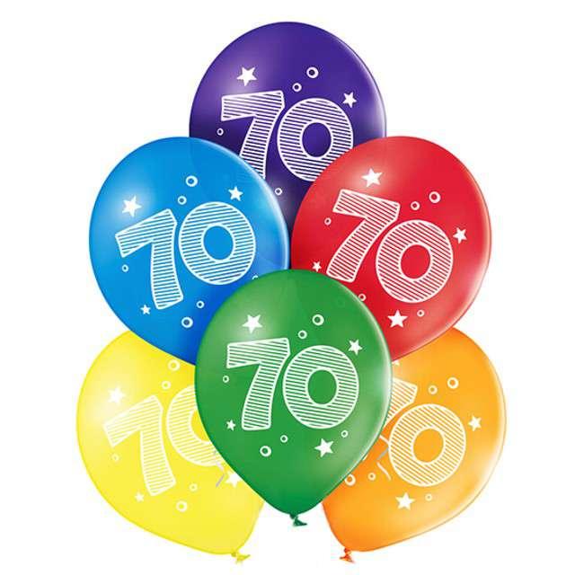 "Balony ""70 Urodziny"", pastel mix, BELBAL, 10"", 6 szt"