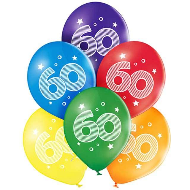 "Balony ""60 Urodziny"", pastel mix, BELBAL, 10"", 6 szt"