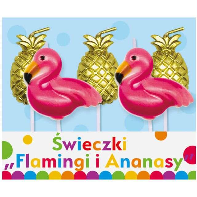 "Świeczki na tort ""Flamingi i Ananasy"", GODAN, 5 szt"