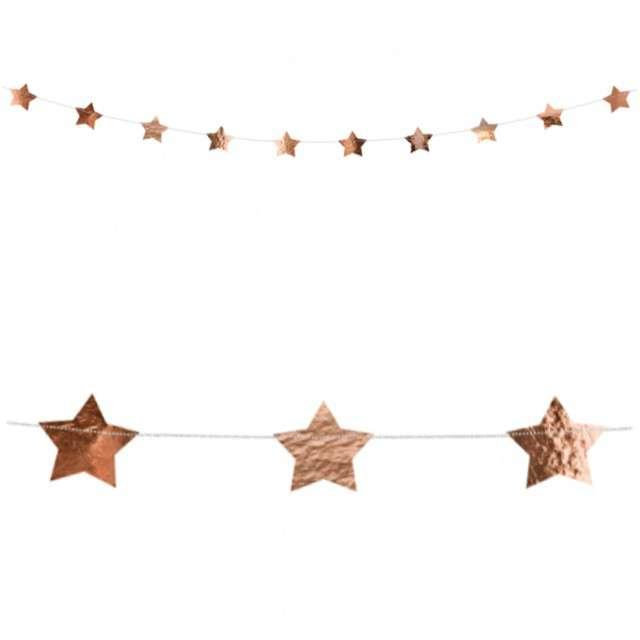 """Girlanda """"Gwiazdki"""", różowo-złote metaliczne, PartyDeco, 360 cm"""