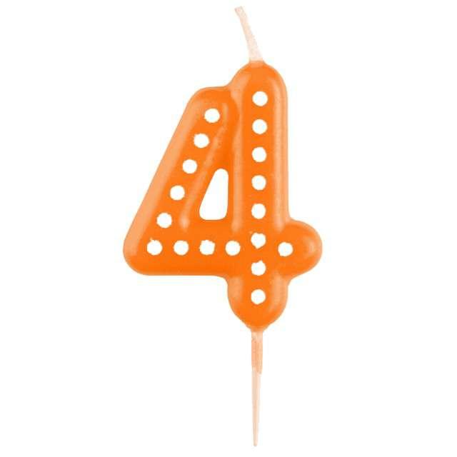 """Świeczka na tort """"Cyfra 4 Kropeczki"""", AMSCAN, pomarańczowa"""