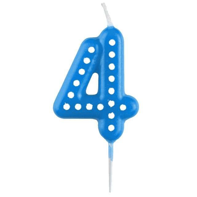 """Świeczka na tort """"Cyfra 4 Kropeczki"""", AMSCAN, niebieska"""