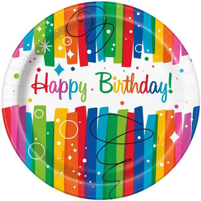 """Talerzyki papierowe """"Happy Birthday"""", UNIQUE, 23 cm, 8 szt"""