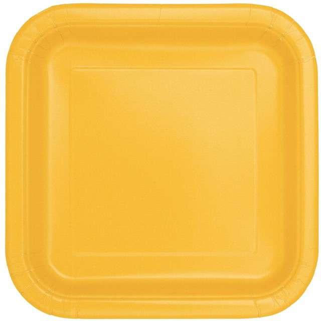 Talerzyki papierowe Classic - Kwadratowe żółte 23 cm 14 szt