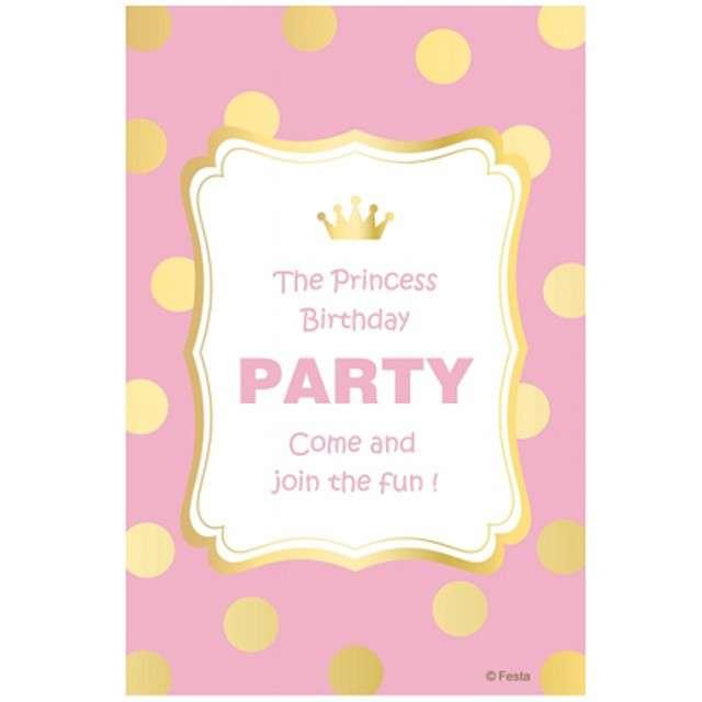 """Zaproszenia urodzinowe """"Princess Birthday - Złote Groszki"""", GODAN, 6 szt"""