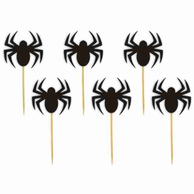 "Pikery ""Halloween Pająk"", czarne, 6 szt"