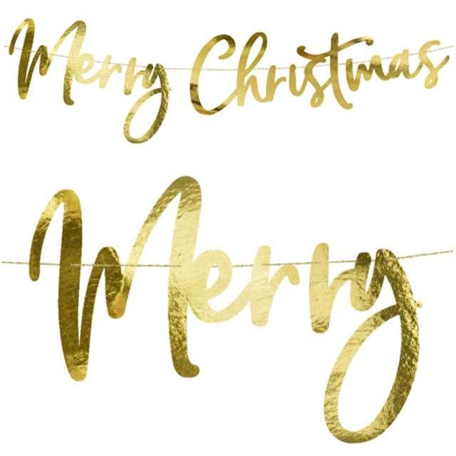 "Baner ""Merry Christmas"", złoty, PartyDeco, 83 cm"