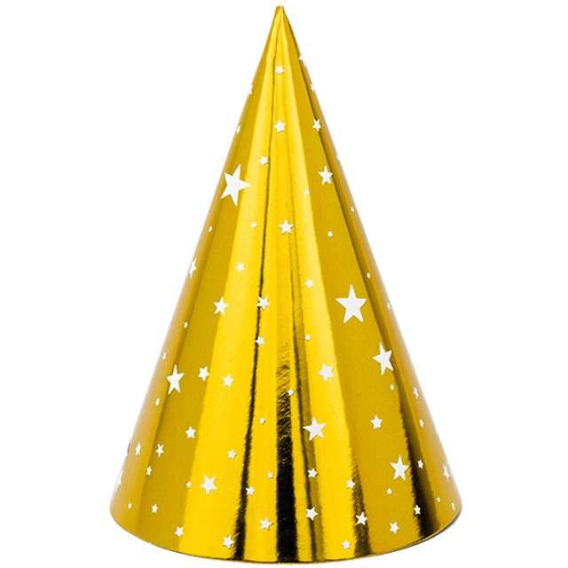 Czapeczki papierowe Gwiazdki złote PartyDeco 6 szt