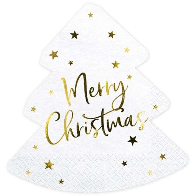"Serwetki ""Choinka - Merry Christmas"", PartyDeco, 16 cm, 20 szt"
