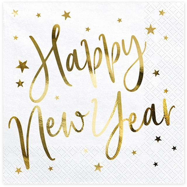 """Serwetki """"Happy New Year"""", białe, PartyDeco, 33 cm, 20 szt"""