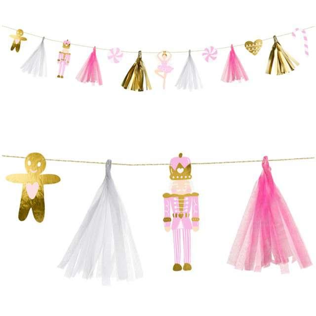 """Girlanda """"Świąteczne Frędzle"""", mix, PartyDeco, 130 cm"""