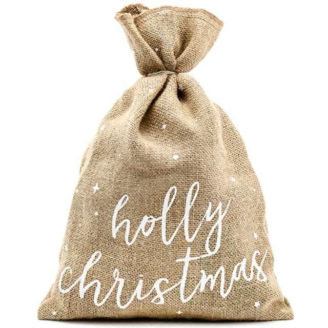"""Podziękowania dla gości """"Woreczek - Holly Christmas"""", jutowy, PartyDeco, 1 szt"""